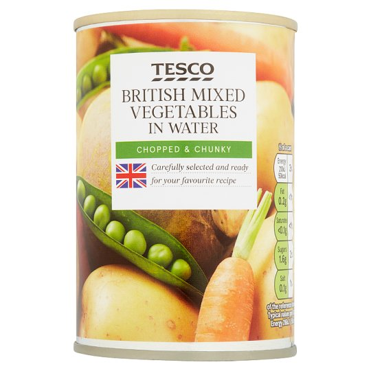 Tesco British Mixed Vegetable In Water 300G