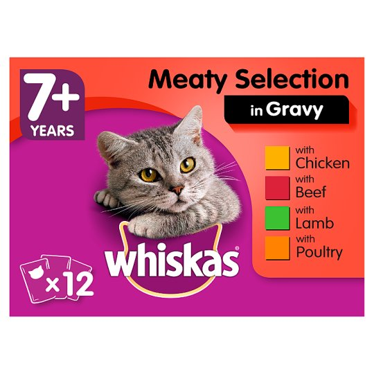 image 1 of Whiskas 7+ Meat In Gravy Senior Cat Pouches 12 X100g