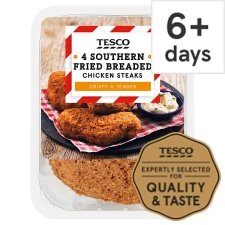 image 1 of Tesco Southern Fried Breaded Chicken Steaks 4 Pack 505G