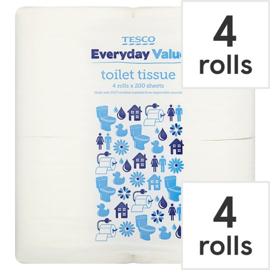 Tesco Everyday Value Toilet Tissue 4 Roll