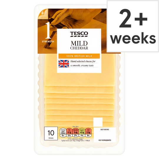 Tesco British Mild 10 Cheddar Slices 250G