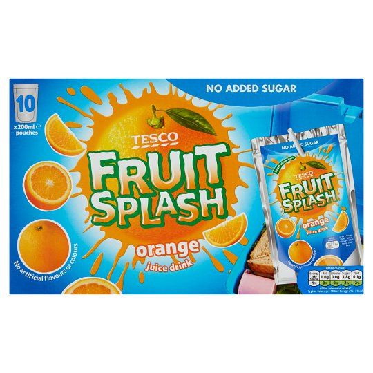 Tesco No Added Sugar Orange Drink Pouch 10X200ml