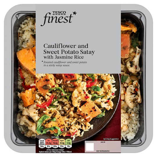 Tesco Finest Cauliflower And Sweet Potato Satay And Rice 430G