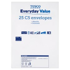 Tesco Everyday Value Manilla C5 Envelope 25 Pack