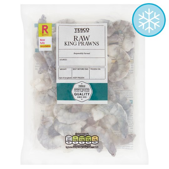 Tesco Raw And Peeled King Prawns 200G