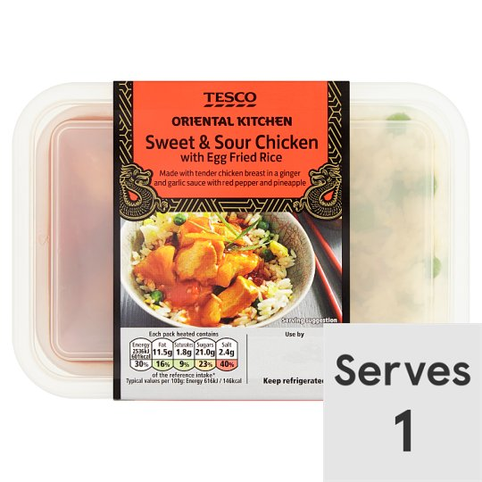 Tesco Oriental Kitchen Sweet And Sour Chicken And Rice 450G