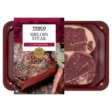 Tesco 2 Beef Sirloin Steaks 454G