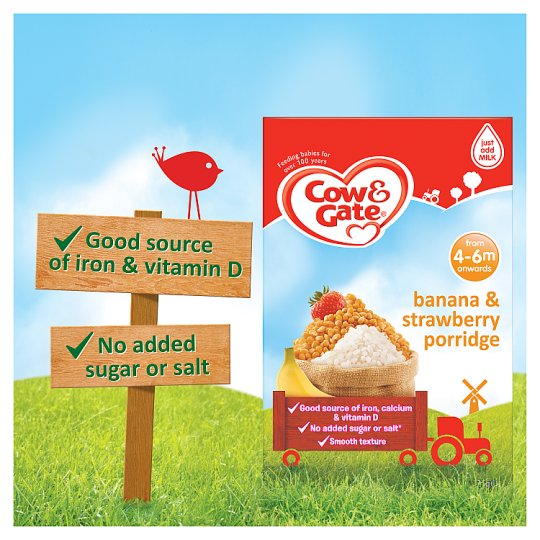 Cow And Gate Banana And Strawberry Porridge 125G 4 Month Plus