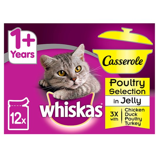 image 1 of Whiskas 1+ Casserole Poultry Cat Food Pouches 12 X85g