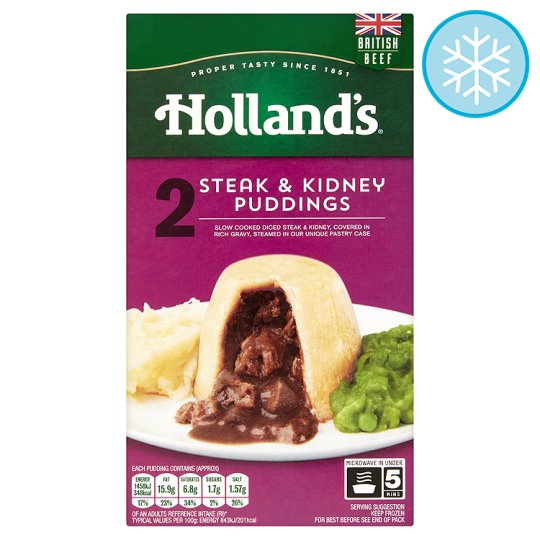 Holland's 2 Steak And Kidney Puddings (L)