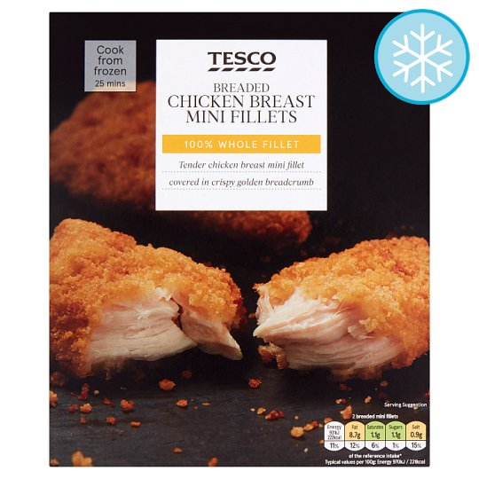 Tesco Breaded Mini Chicken Breast Fillets 300G
