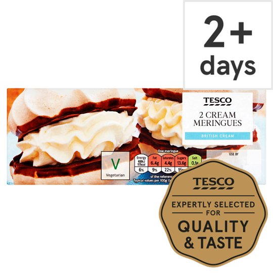Tesco 2 Fresh Cream Meringues 60G