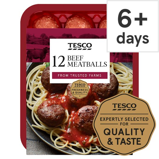 image 1 of Tesco 12 Beef Meatballs 336G