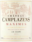 Label for Château Camplazens Maximus 750ml