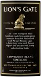 Label for Lion's Gate Sauvignon Blanc Semillon 750ml