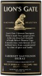 Label for Lion's Gate Cabernet Sauvignon Shiraz 750ml